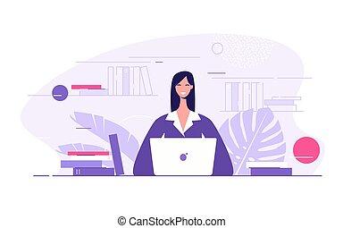 ilustração, vetorial, jovem, apartamento, escritório, laptop, estilo, executiva