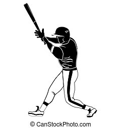 ilustração, vetorial, massa basebol, branca, pretas