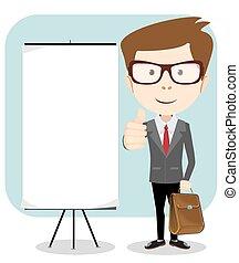ilustração, vetorial, segurando, em branco, board., homem negócios, mensagem, caricatura