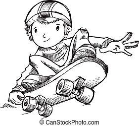 ilustração, vetorial, skateboarder