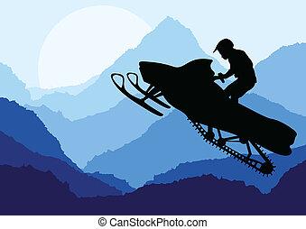 ilustração, vetorial, snowmobile, fundo, cavaleiros,...