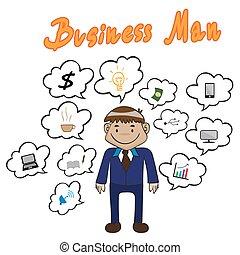 ilustração, vetorial, tecnologia, homem negócio