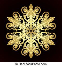 ilustração, vetorial, vermelho, snowflake, cartão natal