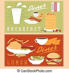 ilustrações, almoço, pequeno almoço, menu