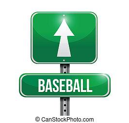 ilustrações, basebol, desenho, sinal estrada