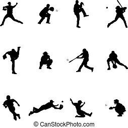 ilustrações, basebol, silueta
