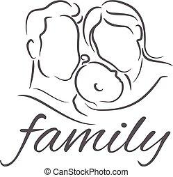 ilustrações, bebê, silueta, linear, mãe