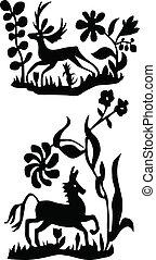 ilustrações, cavalo, vetorial, veado