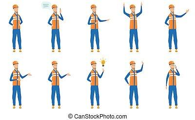 ilustrações, construtor, vetorial, caucasiano, set.