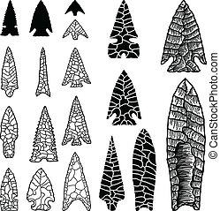 ilustrações, desenhado, arrowhead, mão