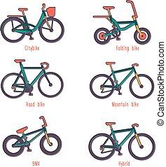 ilustrações, diferente, jogo, bicycles, tipos