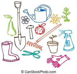 ilustrações, doodle, jardim