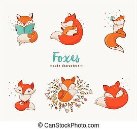ilustrações, encantador, raposa, caráteres, cute