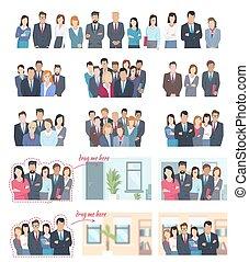 ilustrações, grande, empregados, escritório, cobrança