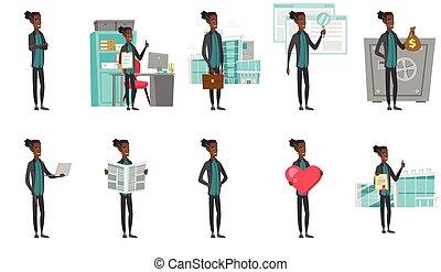 ilustrações, homem negócios, set., vetorial, africano