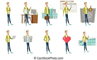 ilustrações, homem negócios, set., vetorial, caucasiano