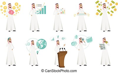ilustrações, homem negócios, set., vetorial, muçulmano
