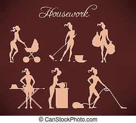 ilustrações, housework