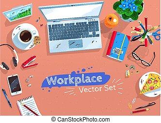 ilustrações, jogo, local trabalho, escritório