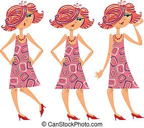 ilustrações, menina, caricatura, set.