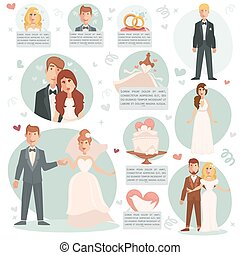 ilustrações, noiva, noivo., vetorial