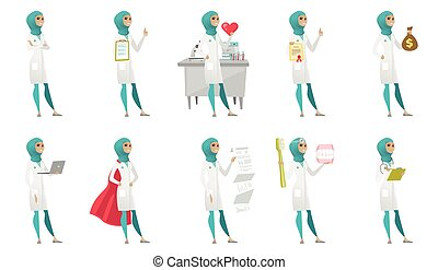 ilustrações, set., vetorial, muçulmano, doutor