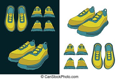 ilustrações, sneakers, desenhos, cor