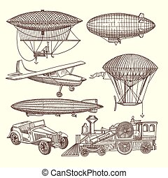 ilustrações, steampunk, estilo, jogo, máquinas
