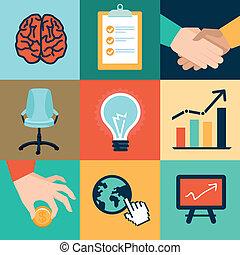 ilustrações, vetorial, escritório, ícones negócio