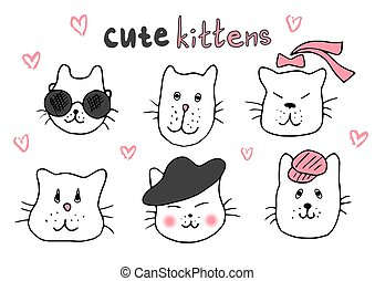 ilustrace, šikovný, skica, t-shirts., řada, klikyháky, ruční, móda, icons., kočka, vektor, cats., muchlat se, kopie, devítiocasá kočka, avatars, řádka, charakter