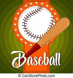 ilustrace, baseball, plakát