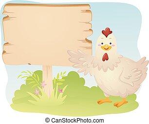 ilustrace, deska, kuře, zemědělství, ptáček, talisman