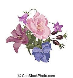 ilustrace, květinový kytice