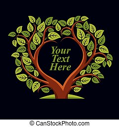 ilustrace, nitro, láska, image., text, list, strom, pojem,...