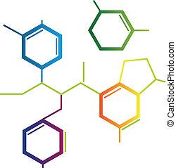 ilustrace, o, abstraktní, chemikálie, formule
