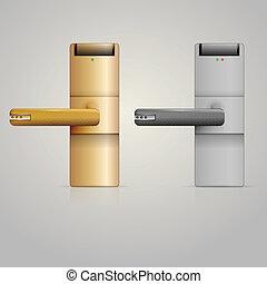 ilustrace, o, doorknobs, s, chumáč