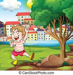 ilustrace, o, jeden, šťastný, kůzle, blízký, ta, strom, v, ta, riverbank, u, ta, velký, stavení