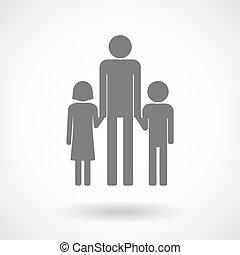 ilustrace, o, jeden, mužský, svobodný původ rodinný, piktogram
