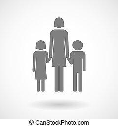 ilustrace, o, jeden, samičí, svobodný původ rodinný, piktogram