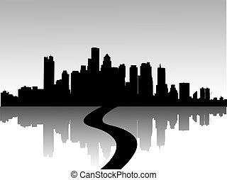 ilustrace, o, městský, městské siluety