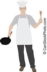ilustrace, o, mládě, kuchyně, vrchní kuchař