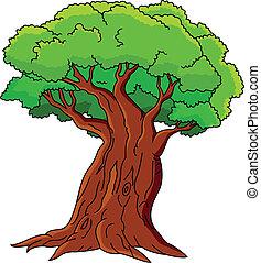 ilustrace, o, strom, osamocený, dále, wh