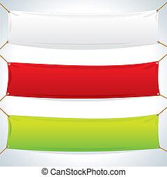 ilustrace, o, textilie, banners., vektor, šablona