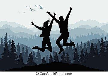 ilustrace, s, šťastný, skákání, národ, silhouettes, dále, druh, les, grafické pozadí