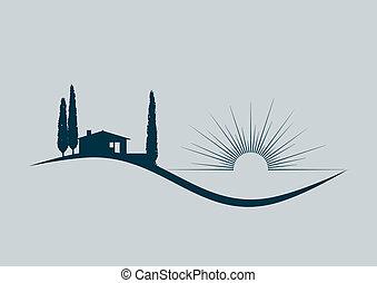 ilustrace, stylizovaný, vektor, moře, domů, dovolená