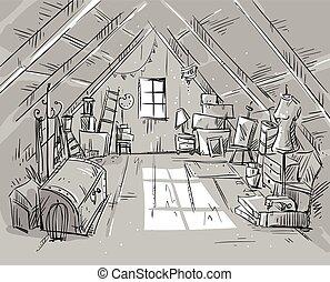 ilustración, ático, vector, viejo