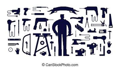 ilustración, acción, herramienta, vector, taller, trabajador...