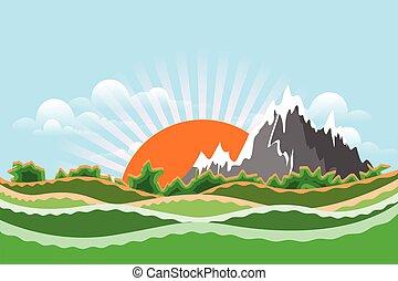 ilustración, acción, paisaje de montaña
