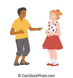 ilustración, aislado, lindo, elaboración, risa, niño, ...