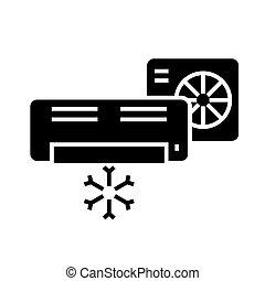 ilustración, aislado, -, sistema, aire, vector, negro, dividir, plano de fondo, icono, acondicionador, señal